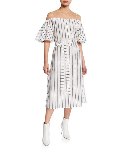 Tulum Striped Cold-Shoulder Midi Dress