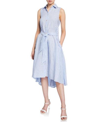 Sedona Striped Linen Button-Front Dress