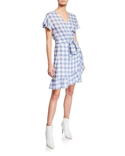 Brigette Gingham Ruffle Wrap Dress