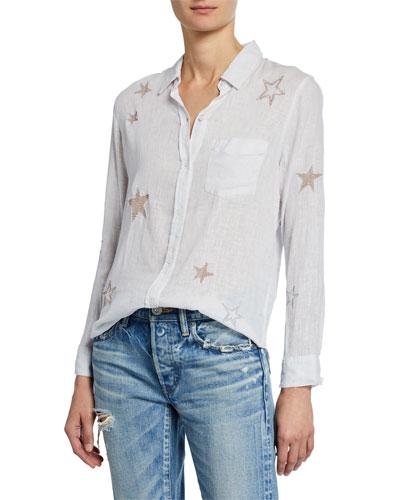 Charli Embroidered Star Button-Down Blouse