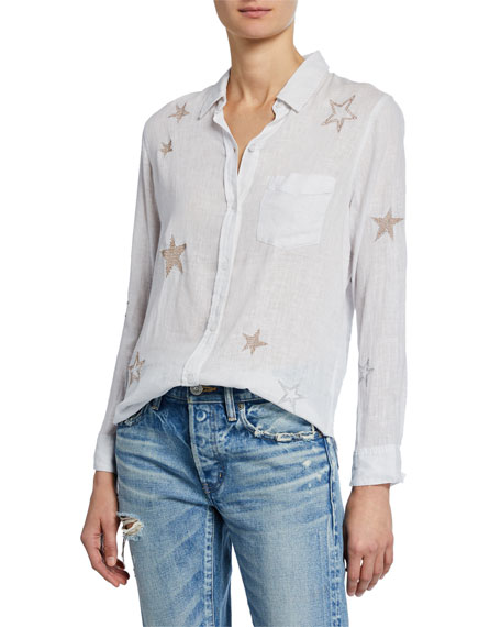 Rails Tops CHARLI EMBROIDERED STAR BUTTON-DOWN BLOUSE