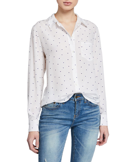 Rails Tops Kate Heart-Print Button-Down Blouse