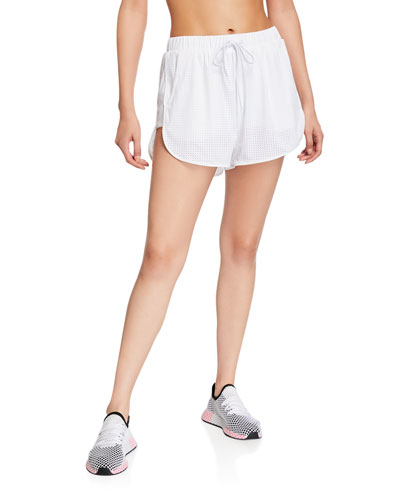 Perforated Drawstring Track Shorts