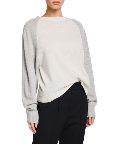 Colorblack Raglan-Sleeve Crewneck Cashmere Sweater