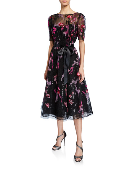 Rickie Freeman For Teri Jon Dresses ELBOW-SLEEVE EMBROIDERED TULLE COCKTAIL DRESS W/ SEQUIN UNDERLAY