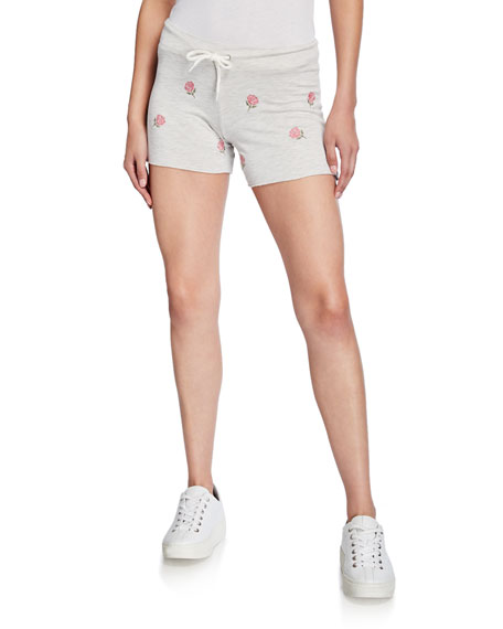 Monrow Vintage Drawstring Shorts With Rose Embroidery In Ash