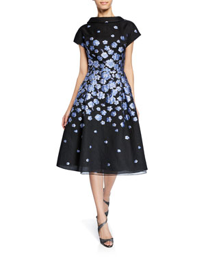 f24778cac2 Rickie Freeman for Teri Jon Roll-Neck Cap-Sleeve Flower-Patterned Jacquard  Dress