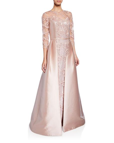 Rickie Freeman For Teri Jon Tops Jewel-Neck 3/4-Sleeve Lace Gown w/ Gazar Overlay & Sequin Underlay