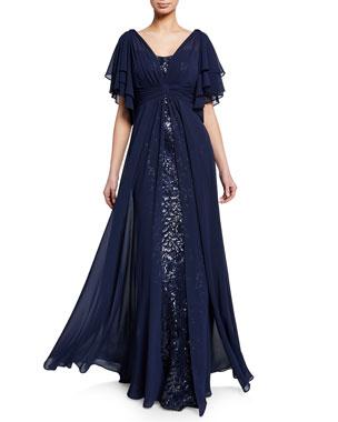 4e00ae71d7bdd Rickie Freeman for Teri Jon Beaded Lace Gazar Flutter-Sleeve Gown w   Asymmetric Chiffon