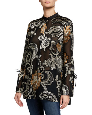 35d39679d41 Lafayette 148 New York Desra Button-Down Long-Sleeve Blouse