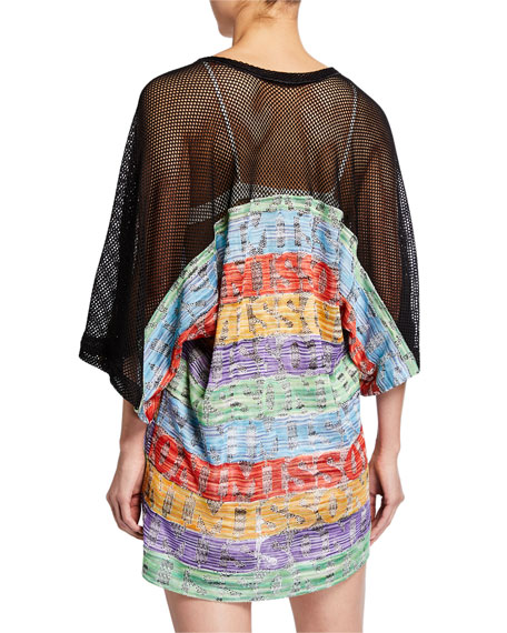Missoni Mare Striped Lace-Up Mesh-Sleeve Coverup
