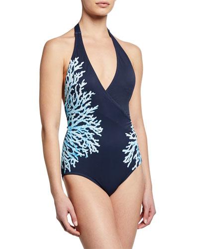 Surplice Halter One-Piece Swimsuit