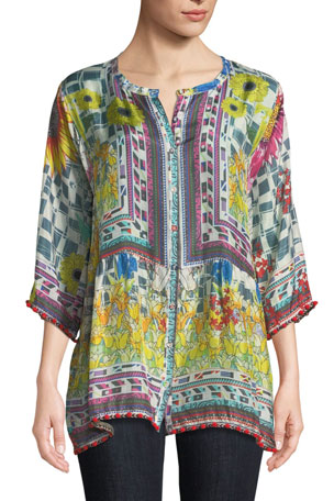 Johnny Was Theda Printed Tunic w/ Pompom Trim, Petite
