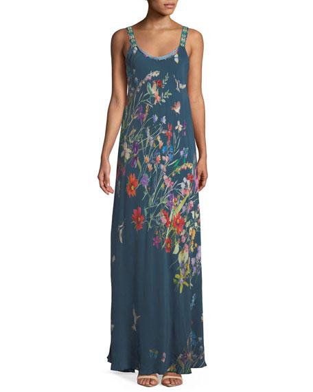 Johnny Was Dresses Plus Size Linsu Floral-Print Maxi Tank Dress
