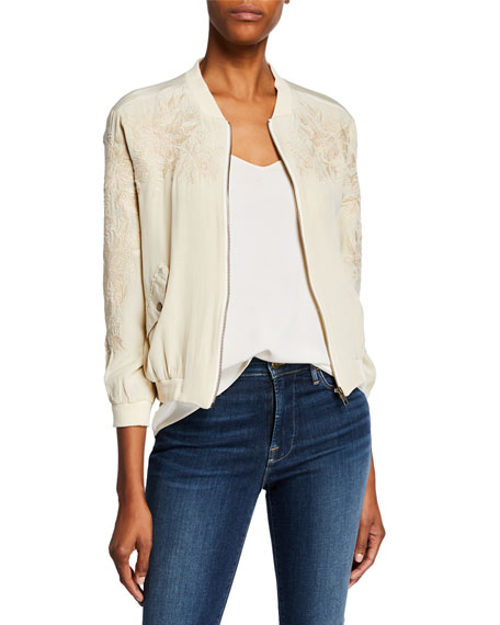 Johnny Was Jackets PETITE TYRELL SILK BOMBER JACKET W/ EMBROIDERY