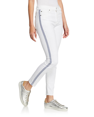 Side-Stripe High-Rise Ankle Skinny Jeans