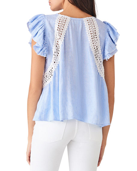 DL1961 Premium Denim Leroy St. Striped Lace Ruffle Top