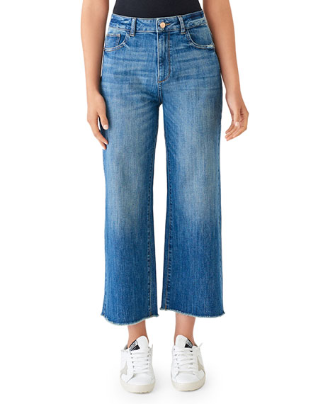 Dl Premium Denim Jeans HEPBURN HIGH-RISE CROPPED WIDE-LEG JEANS
