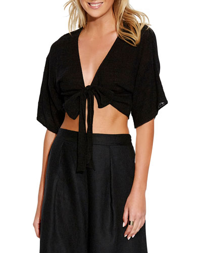 Textured Gauze Tie-Front Coverup Top