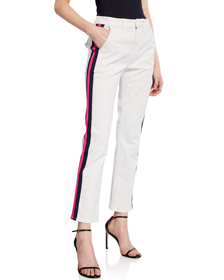 Mother Pants THE STRAIGHT SHAKER ANKLE PANTS WITH STRIPES