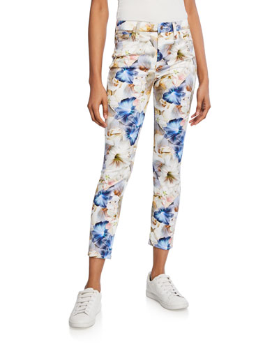 Floral-Print Cropped Ankle Skinny Jeans