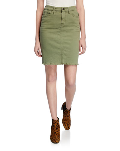 Stretch-Denim Pencil Skirt with Frayed-Hem