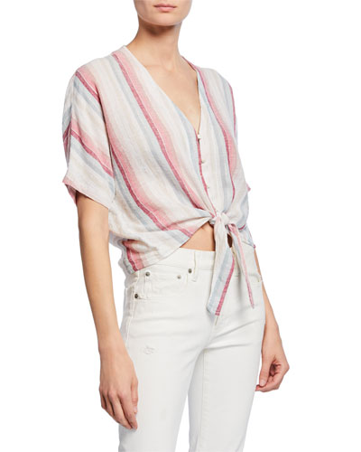 Thea Striped Linen Tie-Front Top
