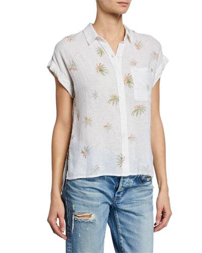 Whitney Palm-Print Linen Top