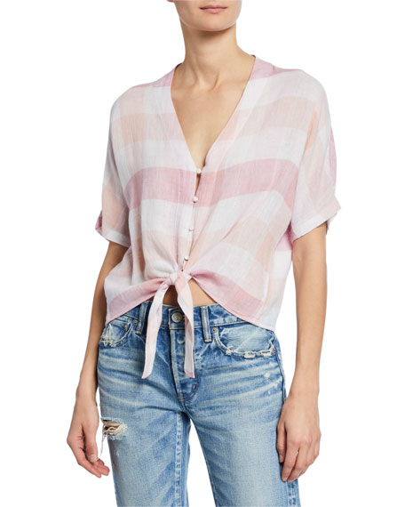 Rails Tops THEA LINEN CHECK TIE-FRONT TOP