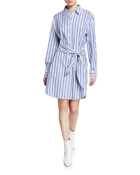 Derek Lam 10 Crosby Dresses STRIPED LONG-SLEEVE TIE-WAIST SHIRTDRESS