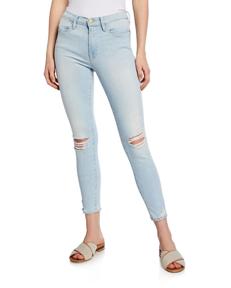 Frame Jeans LE HIGH SKINNY DISTRESSED JEANS