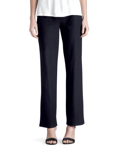 Plus Size Washable-Crepe Straight-Leg Pants