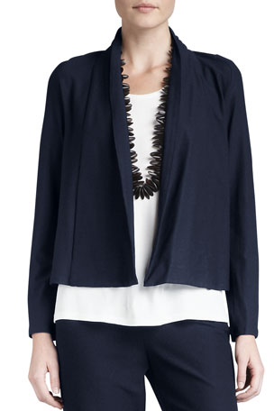 Eileen Fisher Plus Size Washable-Stretch Crepe Short Jacket