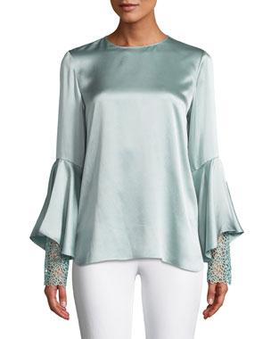 702e55146f29d2 Elie Tahari Kaia Flutter-Sleeve Silk Blouse