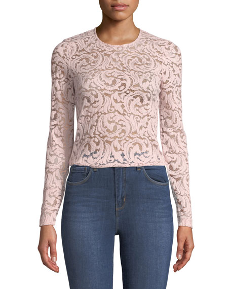 L'agence Annika Long-Sleeve Lace Top