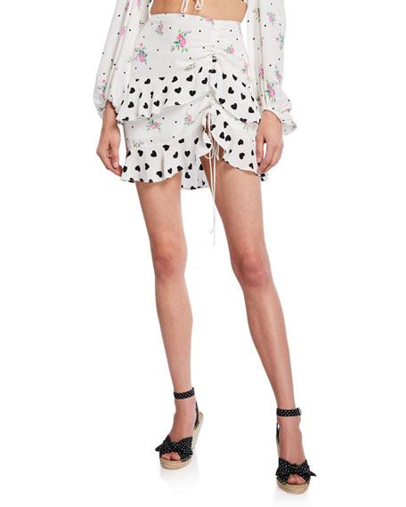 For Love & Lemons Skirts LUCIA PRINTED FLOUNCE MINI SKIRT