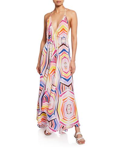 geo-print maxi dress coverup
