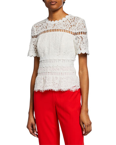 Eloise Short-Sleeve Lace Top
