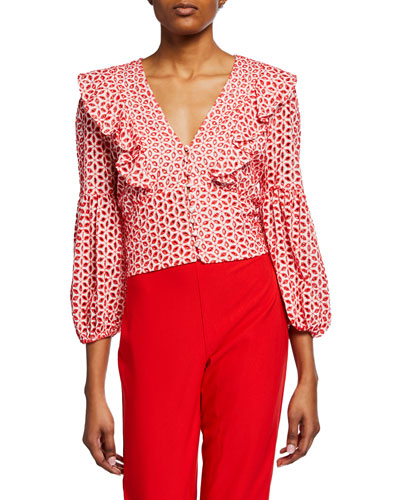 Camille Balloon-Sleeve Ruffled Blouse