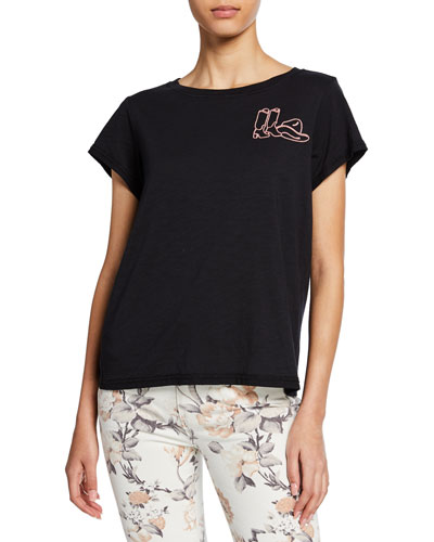 Ellison Short-Sleeve Tee with Western Embroidery