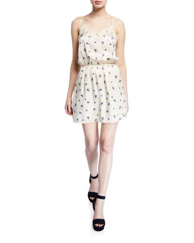 Floral-Print V-Neck Sleeveless Silk Slip Dress