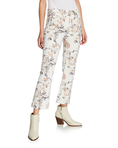 Colette Crop Flare Jeans w/ Raw-Edge Hem