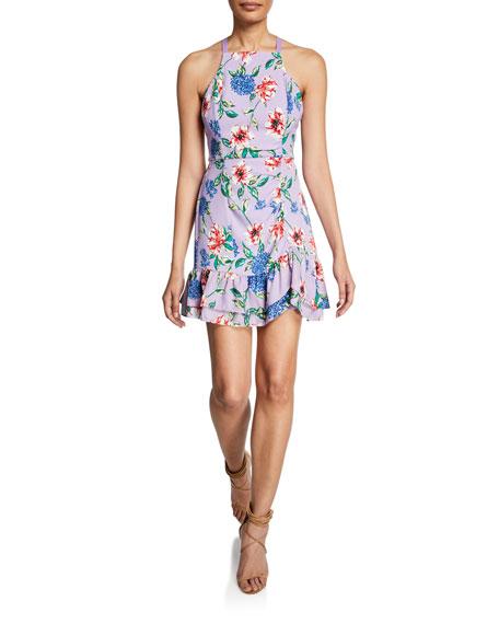 Parker Dresses AMINA FLORAL-PRINT MINI HALTER DRESS