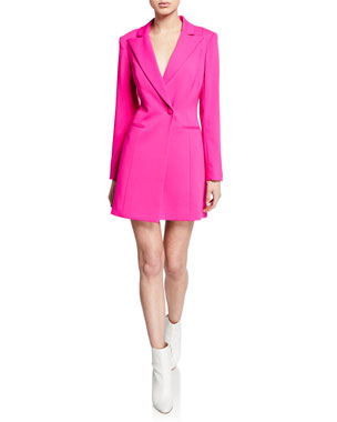 e42a38b0dd8 Jay Godfrey Ace One-Button Long-Sleeve Blazer Mini Dress