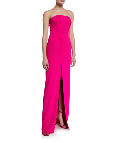 Strapless Front-Slit Column Gown