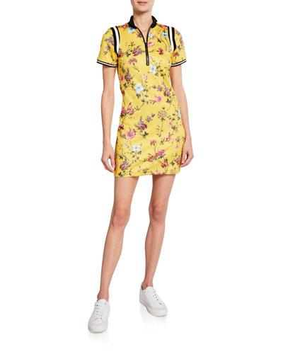 Floral Zip-Front Short-Sleeve Mini Dress w/ Striped Rib Trim