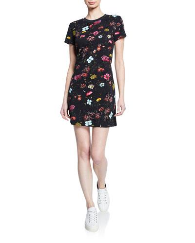 Floral-Print Short-Sleeve Mini T-Shirt Dress