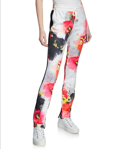 Abstract-Print Cigarette Track Pants