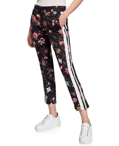 Fine Line Floral-Print Cropped Track Pants