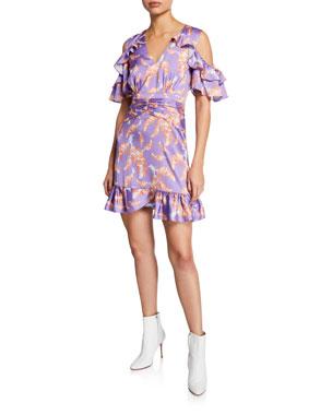 68d2dc3ab7f85 Three Floor Bayside High Printed V-Neck Cold-Shoulder Mini Ruffle Dress